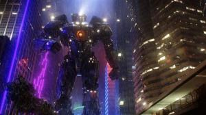 The Gipsy Danger robot in a scene from Pacific Rim.