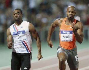 Tyson Gay, left, and Asafa Powell frin a 2009 race.