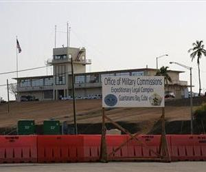 A sign is seen outside the Courthouse One Expeditionary Legal Complex at Naval Station Guantanamo Bay, Cuba, Monday, June 17, 2013.