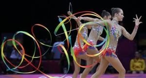 The team from Russia performs during the rhythmic gymnastics group all-around final at the 2012 Summer Olympics.