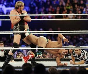 Jacob Jake Hager, Jr., aka Jack Swagger, locks up the leg of Jose Alberto Rodriguez, aka Alberto Del Rio, during the WWE Wrestlemania 29 wrestling event, April 7, 2013, in East Rutherford, NJ.