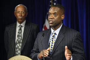 State-appointed emergency manager Kevyn Orr, right, speaks as Detroit Mayor Dave Bing listens Thursday.