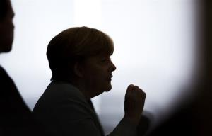 German Chancellor Angela Merkel gestures during her annual press conference in Berlin, Germany.