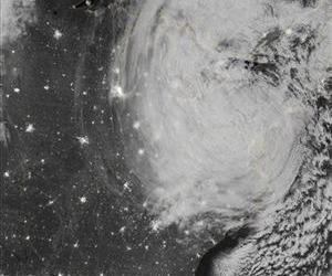 This image provided by NASA shows the eastern seaboard at night from a composite assembled from data acquired by the Suomi NPP satellite as Hurricane Sandy came ashore on Oct. 30, 2012.