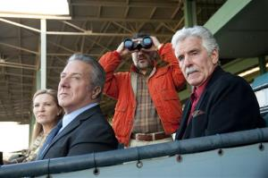 Joan Allen, Dustin Hoffman, John Ortiz and Dennis Farina are shown in a scene from HBO's Luck.  Farina died suddenly on Monday, July 22, 2013 after suffering a blood clot in his lung.