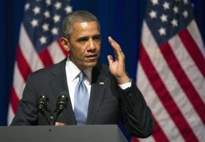 Barack Obama addresses an Organizing for Action summit in Washington, Monday, July 22, 2013.
