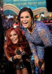 Jenni JWOWW Farley, on right, and Nicole Snooki Polizzi appear during MTV's Club NYE 2013 at the MTV Times Square Studios on Monday, Dec. 31, 2012 in New York.