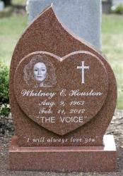 The headstone at the grave of Whitney Houston at Fairview Cemetery in Westfield, N.J.