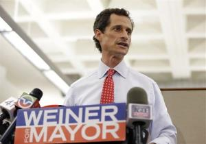 New York mayoral candidate Anthony Weiner speaks during a news conference at the Gay Men's Health Crisis headquarters, Tuesday, July 23, 2013, in New York. The former congressman says he's not dropping out of the New York City mayoral race in light of newly revealed explicit online correspondence with a...
