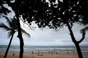 People play soccer on the beach in Recife, Brazil, Thursday, June 13, 2013.