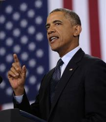 President Obama speaks about the economy Wednesday at Knox College in Galesburg, Ill.