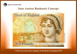 This computer-generated image provided by the Bank of England Wednesday shows the concept design for the Jane Austen 10-pound note.