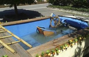 The photo provided by the police in Chemnitz shows a car converted into a driveable pool  in?Eibenstock,?eastern Germany.