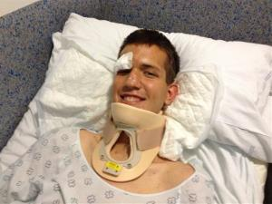 This Thursday, July 25, 2013 photo provided by the Church of Jesus Christ of Latter-day Saints shows young Mormon missionary from Utah, Stephen Ward, 18, hospitalized. Ward was among the survivors of the Spain train crash that left 80 dead.
