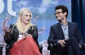 Meghan McCain and Jacob Soboroff talk about the new Pivot network at the Beverly Hilton Hotel on Friday,. They'll both be hosting shows.