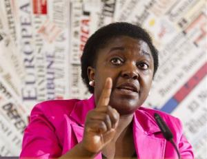 In this file photo taken on June 19, 2013, Italian Integration Minister Cecile Kyenge listens to a question during a press conference at the Foreign Press Club in Rome.