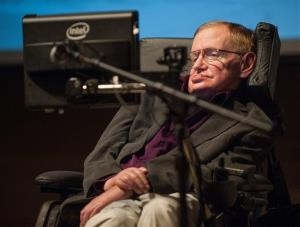 British cosmologist Stephen Hawking gives a talk titled  A Brief History of Mine, to workers at Cedars-Sinai Medical Center in Los Angeles earlier this year.