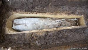 The skeleton's feet are visible as water trickled through the ground and degraded the lead coffin.
