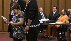 Michelle Knight speaks during the sentencing phase for Ariel Castro Thursday, Aug. 1, 2013, in Cleveland.