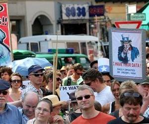 Hundreds of demonstrators protest against NSA surveillance during a rally in  in Berlin, Germany, July 27, 2013.
