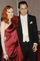 Model Karen Elson and then-husband Jack White attend the Metropolitan Museum of Art's Costume Institute Gala, in New York on Monday, May 5, 2008.