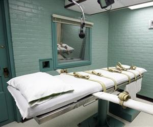 The gurney in the death chamber is shown in this May 27, 2008 file photo from Huntsville, Texas.