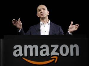 Amazon founder and CEO Jeff Bezos speaks in Santa Monica.
