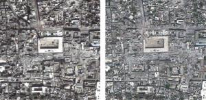 Composite satellite photos of the Great Mosque of Aleppo, Syria,  a UNESCO world heritage site, on March 1, 2013, left,  compared to  May 26, 2013, right.