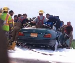 A shot from the accident that, like all shots from the accident, does not include the priest.