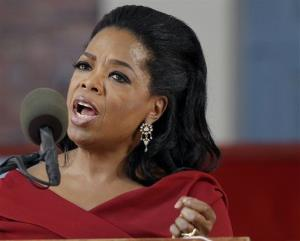 In this May 30, 2013 file photo, Oprah Winfrey speaks during Harvard University's commencement ceremonies in Cambridge, Mass.