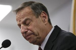 San Diego Mayor Bob Filner pauses as he speaks during a news conference on July 26.