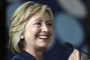 Hillary Clinton applauds international delegates during a speech July 9 at Bryn Mawr College.