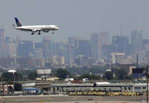 A plane prepares to land at Newark Liberty International Airport in Newark, New Jersey.