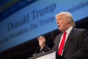 Donald Trump speaks during the family leadership summit in Ames, Iowa, on Saturday, Aug. 10, 2013. Republican presidential hopefuls are hoping to impress conservative voters.