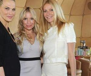 Molly Sims, left, Tracy Anderson, center, and Gwyneth Paltrow celebrate the launch of the Tracy Anderson Method Pregnancy Project DVD series at The Top of The Standard in New York, Oct. 5, 2012.