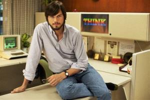 Ashton Kutcher as Steve Jobs in the Open Roads Films movie, Jobs, directed by Joshua Michael Stern.
