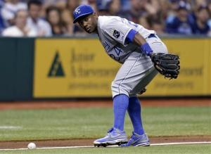 Kansas City Royals third baseman Miguel Tejada.