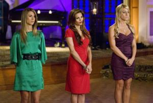 In this TV publicity image released by ABC, Tenley Molzahn, Gia Allemand, and Vienna Girardi are shown on The Bachelor: On the Wings of Love.