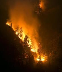 Fire creeps slowing down the western canyon wall above the Wood River in Hailey where firefighters continue to battle the Beaver Creek Fire, Saturday, Aug. 17, 2013.