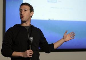 Mark Zuckerberg speaks at Facebook headquarters in Menlo Park, California.