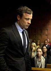 South African Olympian Oscar Pistorius appears in the magistrates court in Pretoria, South Africa today.