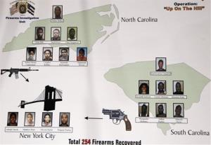 A graphic display presented at a news conference shows the 19 people arrested in New York, North Carolina and South Carolina as the result of a 10-month investigation into gun smuggling.