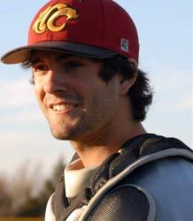 In this undated photo provided by the Essendon Baseball Club, player Chris Lane wears his baseball equipment.
