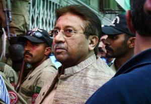 In this April 20, 2013, file photo, Pakistan's former President and military ruler Pervez Musharraf arrives at an anti-terrorism court in Islamabad, Pakistan.