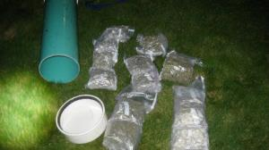 The Canadian's stash was carried in a large watertight container.