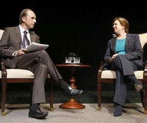 US Supreme Court Justice Elena Kagan, right, talks with Brown University historian Ted Widmer during a forum at Chase Theater in Providence, RI, Tuesday, Aug. 20, 2013.