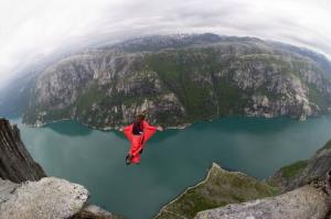 A base jumper in a wingsuit.