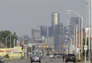 FILE - This July 18, 2013, shows the Detroit skyline from Grand River in Detroit. Monday, Aug. 19, 2013, is the deadline for a host of banks, bond insurers, two employee pension systems and others standing to lose big if a federal judge declares Detroit insolvent to legally file their...