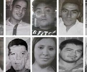 In this file photo composite of images taken from flyers made by relatives showing some of the 12 young people who were kidnapped in broad daylight from an after hours bar in Mexico City on May 26.