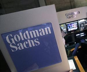 The Goldman Sachs booth is seen at the New York Stock Exchange in this file photo.